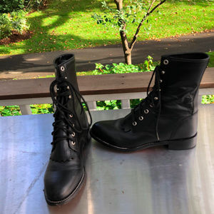 Justin Boots Ankle lace up Black Leather 6 D